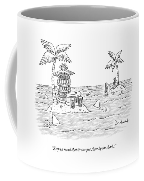 Sharks Coffee Mug featuring the drawing Two Men Stand On A Desert Island by David Borchart