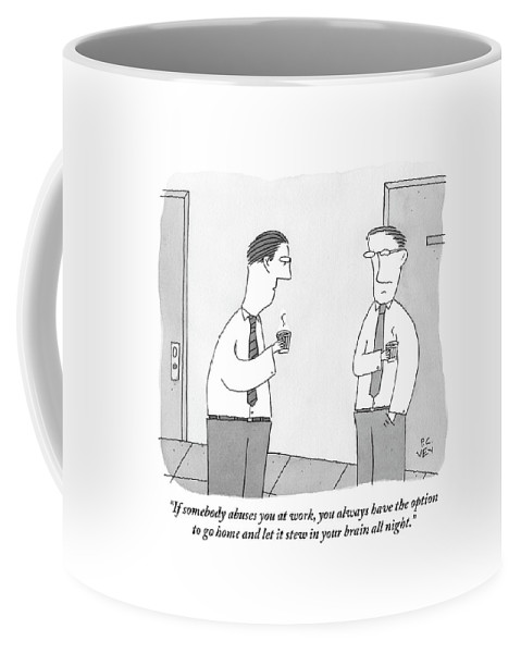 Office Coffee Mug featuring the drawing Two Men Talking by Peter C. Vey