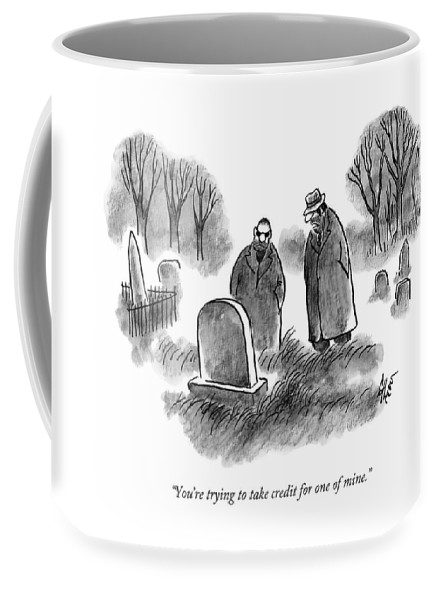 Mobster Coffee Mug featuring the drawing Two Mobsters / Gangsters Stand By A Grave by Frank Cotham