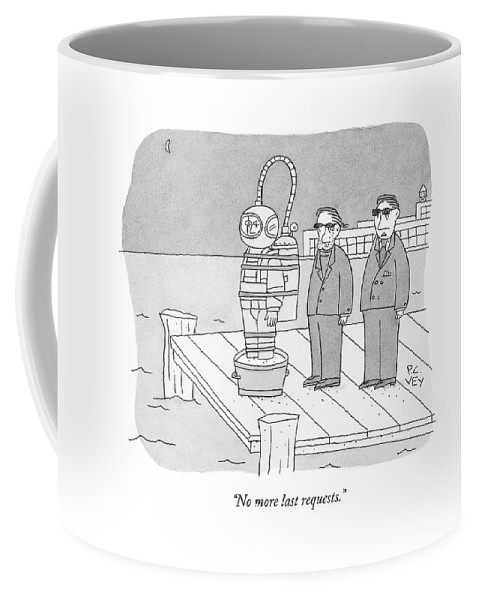 Cement Shoes Coffee Mug featuring the drawing Two Mobsters Are About To Push A Man In Cement by Peter C. Vey
