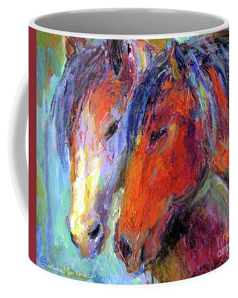 Mustang Horse Prints Coffee Mug featuring the painting Two Mustang Horses Painting by Svetlana Novikova