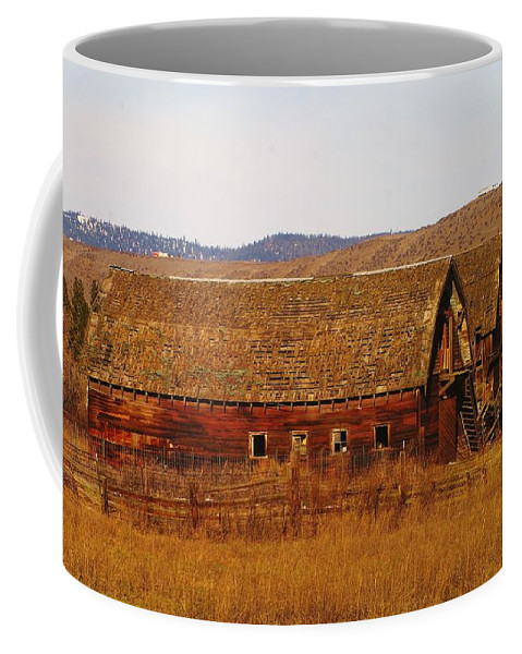 Barns Coffee Mug featuring the photograph Two Old Barns Near Thorp Wa by Jeff Swan
