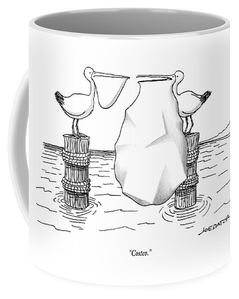 Costco. Coffee Mug featuring the drawing Two Pelicans Converse As The Other's Beak by Joe Dator