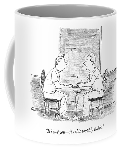 Breakups Coffee Mug featuring the drawing Two People Sit At A Table by Julian Rowe