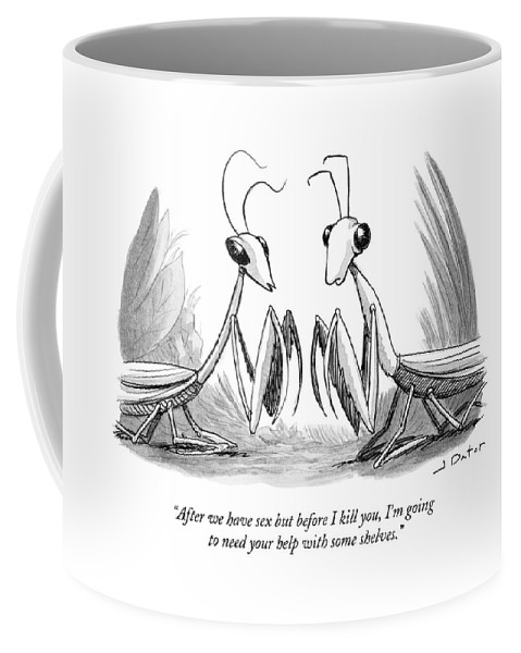 After We Have Sex But Before I Kill You Coffee Mug featuring the drawing Two Praying Mantises Facing Each Other by Joe Dator