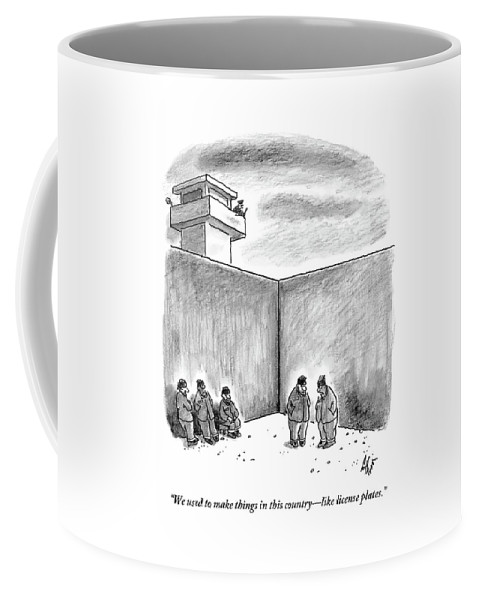 Prison Coffee Mug featuring the drawing Two Prisoners Talk In The A Prison Yard by Frank Cotham
