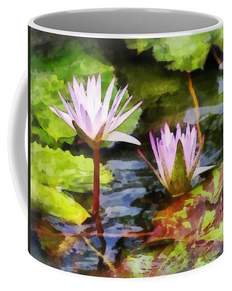 Lotus Coffee Mug featuring the photograph Two Purple Water Lotus by Susan Savad