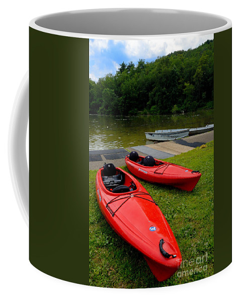 2 Seat Coffee Mug featuring the photograph Two Red Kayaks by Amy Cicconi