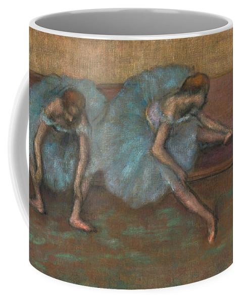Edgar Degas Coffee Mug featuring the drawing Two Seated Dancers by Edgar Degas