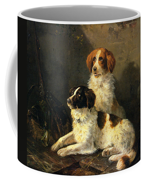Two Spaniels Waiting For The Hunt Coffee Mug featuring the digital art Two Spaniels Waiting For The Hunt by Henriette Ronner Knip