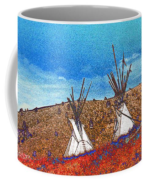 American Indian Coffee Mug featuring the digital art Two Teepees by Kae Cheatham