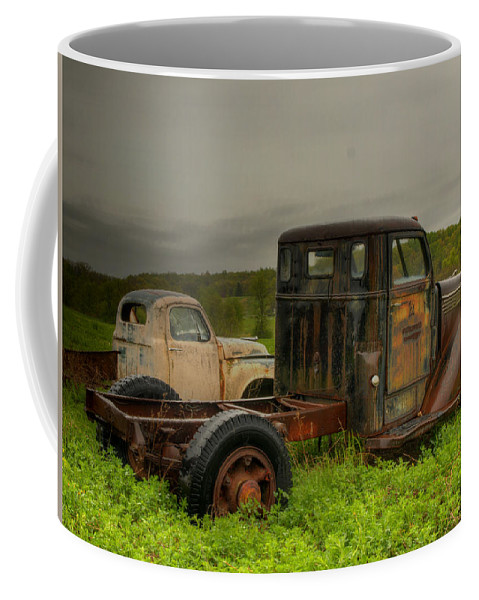 Old Chevrolet Trucks Coffee Mug featuring the photograph Two Trucks by Thomas Young