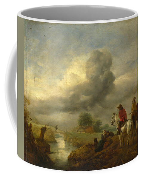 Philips Wouwerman Coffee Mug featuring the painting Two Vedettes On The Watch By A Stream by Philips Wouwerman