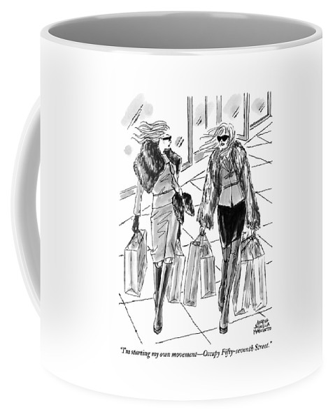 Shopping Coffee Mug featuring the drawing Two Women Dressed Nicely Walk Together Carrying by Marisa Acocella Marchetto