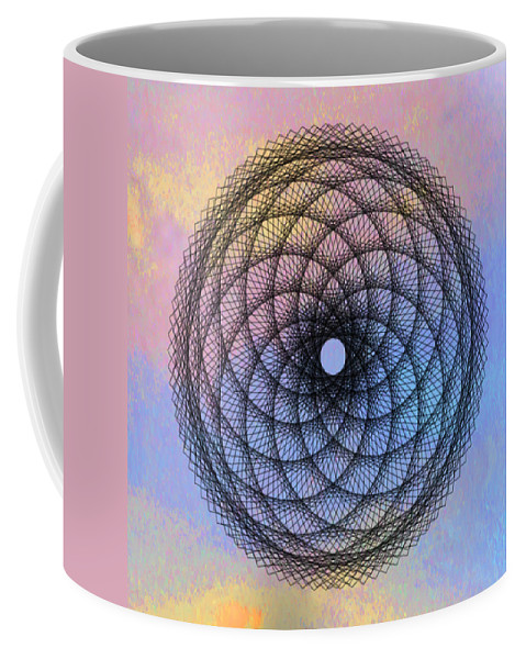 Tye Dye Spirograph Coffee Mug featuring the digital art Tye Dye Spirograph by Bill Cannon