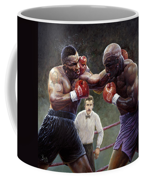 Mike Tyson Coffee Mug featuring the painting Tyson/holyfield by Gregory Perillo