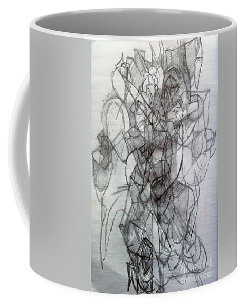 Torah Coffee Mug featuring the drawing Tzadik 5 by David Baruch Wolk