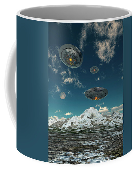 Vertical Coffee Mug featuring the photograph Ufos Flying Over A Mountain Range by Mark Stevenson