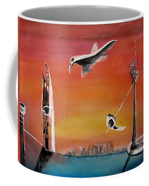 Uglydream Coffee Mug featuring the painting Uglydream911 by Helmut Rottler
