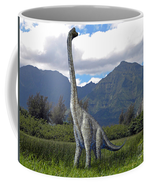 Dinosaur Art Coffee Mug featuring the mixed media Ultrasaurus In Meadow by Frank Wilson