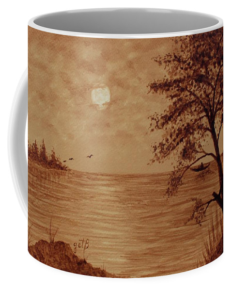 Seascape Coffee Mug featuring the painting Under Moonlight Original Coffee Painting by Georgeta Blanaru