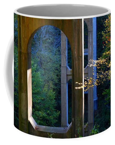 Bridge Coffee Mug featuring the photograph Underneath The Bridge by Kathryn Meyer