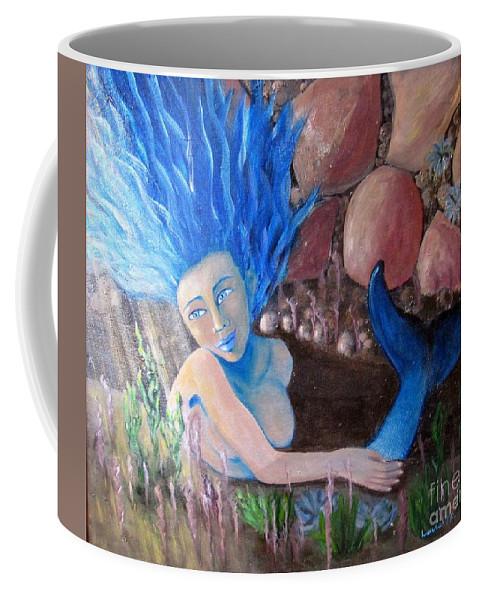 Mermaid Coffee Mug featuring the painting Underwater Wonder by Laurie Morgan