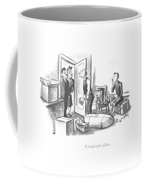 117744 Wst William Steig Unexpected Callers Montage Of A Family Moving. Box Boxes Callers Communities Community Day Family Furniture Home Homes House Household Households Houses Hurried Last-minute Move Movers Moves Moving Neighbor Neighborhood Packing Residential Residents Snack Suburban Suburbs Take Unexpected 147490 Coffee Mug featuring the drawing Unexpected Callers by William Steig