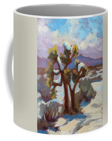Unexpected Snowfall Coffee Mug featuring the painting Unexpected Snowfall At Joshua Tree by Diane McClary