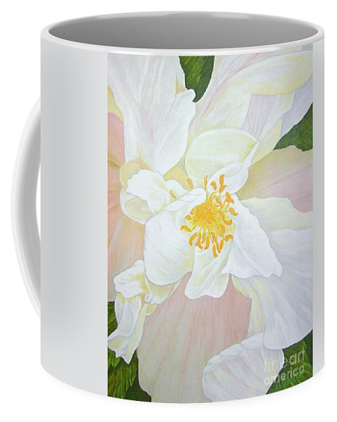 White Coffee Mug featuring the painting Unfurling White Hibiscus by Mary Deal
