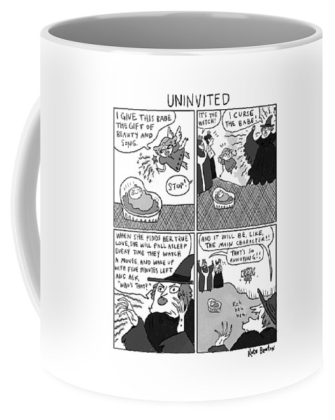 Captionless Sleeping Beauty Coffee Mug featuring the drawing Uninvited -- A 4-panel Cartoon Of A Sleeping by Kate Beaton