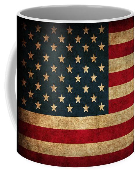 United States American Usa Flag Vintage Distressed Finish On Worn Canvas Coffee Mug featuring the mixed media United States American USA Flag Vintage Distressed Finish on Worn Canvas by Design Turnpike