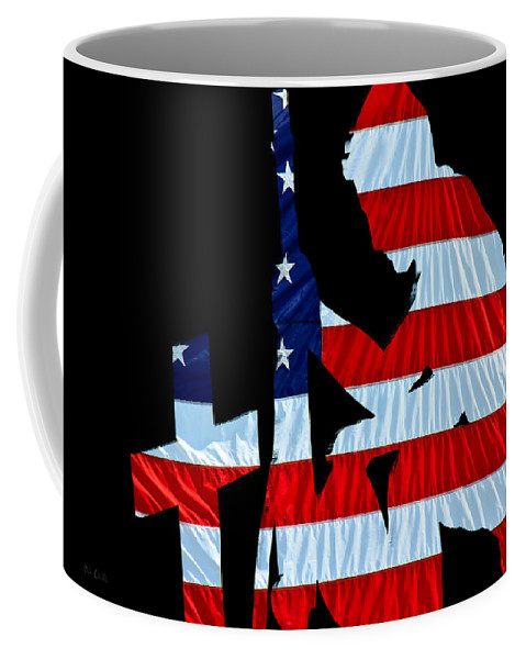 Patriotic Coffee Mug featuring the photograph A Time To Remember United States Flag With Kneeling Soldier Silhouette by Bob Orsillo