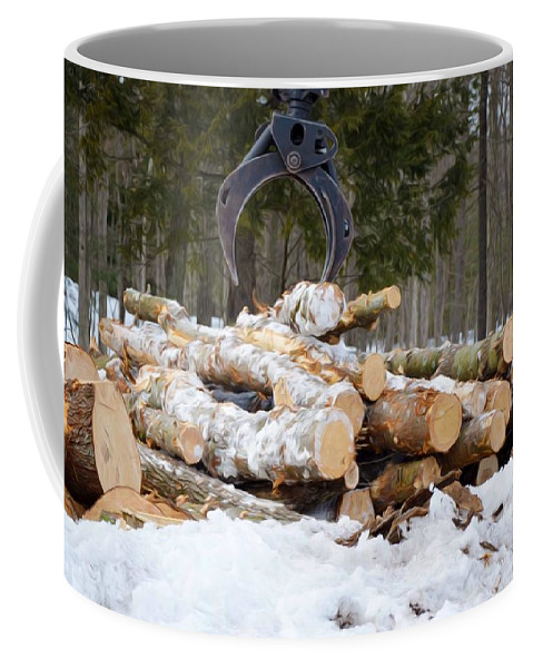 Autumn Coffee Mug featuring the painting Unloading Firewood 3 by Jeelan Clark