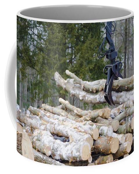 Autumn Coffee Mug featuring the painting Unloading Firewood 4 by Jeelan Clark