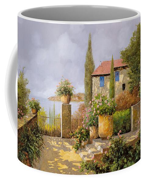 Terrace Coffee Mug featuring the painting Uno Sguardo Sul Mare by Guido Borelli
