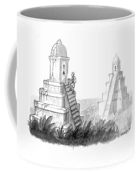 (explorer Discovers Gender Labeled Ancient Pyramid Restrooms.) 122203 Jpt Jason Patterson Coffee Mug featuring the drawing New Yorker April 24th, 2006 by Jason Patterson