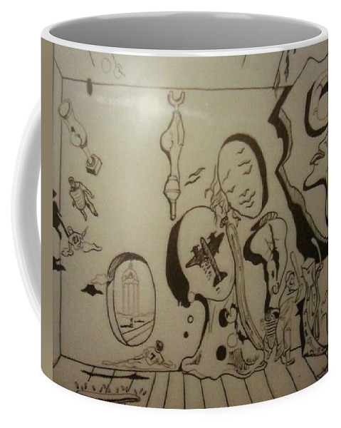 Coffee Mug featuring the drawing Untitled by Jude Darrien