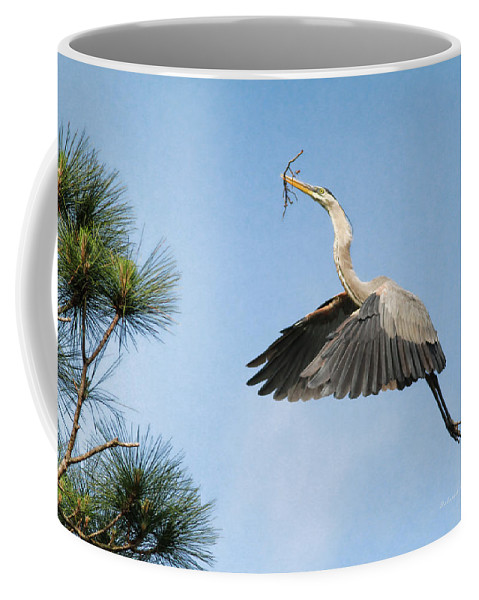 Blue Heron Coffee Mug featuring the photograph Up To The Nest by Deborah Benoit