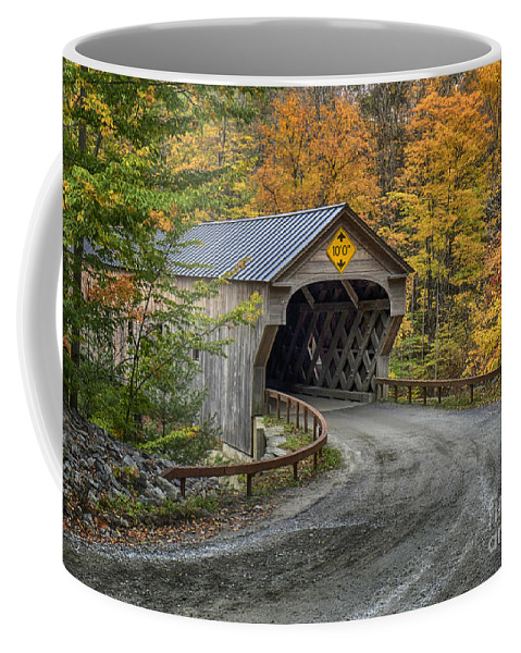 Vermont Coffee Mug featuring the photograph Upper Falls Covered Bridge by Claudia Kuhn
