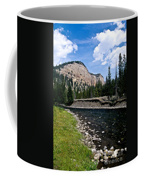 Landscape Coffee Mug featuring the photograph Upriver In Washake Wilderness by Kathy McClure