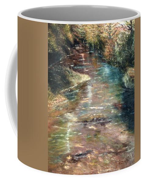 Karen Zuk Rosenblatt Art And Photography Coffee Mug featuring the painting Upstream by Karen Zuk Rosenblatt