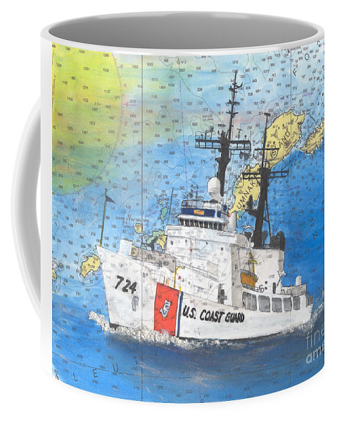 Uscgc Coffee Mug featuring the painting Us Coast Guard Cutter Munro Nautical Chart Cape San Blas Lighthouse Fl Nautical Chart Cathy Peek by Cathy Peek
