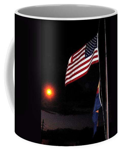 Us Flag Arizona Flag Twilight Casa Grande Arizona 2005 Coffee Mug featuring the photograph Us Flag Arizona Flag Twilight Casa Grande Arizona 2005 by David Lee Guss