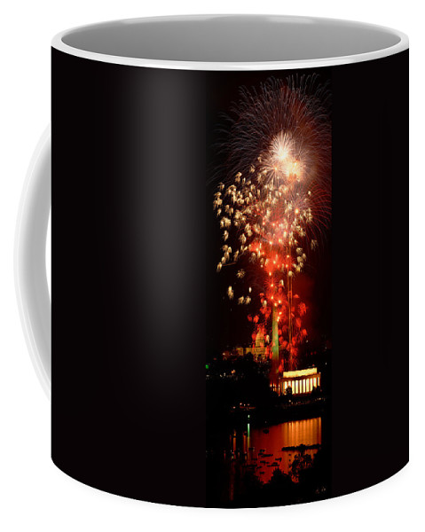 Vertical Coffee Mug featuring the photograph Usa, Washington Dc, Fireworks by Panoramic Images
