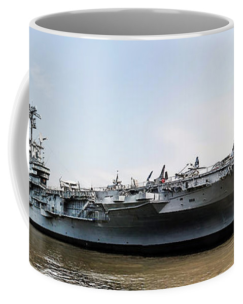 Uss Intrepid Coffee Mug featuring the photograph Uss Intrepid Sea-air-space Museum In New York City. by Nishanth Gopinathan