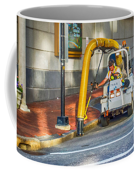 Guy Whiteley Photography Coffee Mug featuring the photograph Vacuuming The Sidewalk by Guy Whiteley
