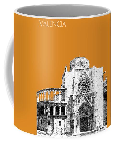 Architecture Coffee Mug featuring the digital art Valencia Skyline Valencia Cathedral - Dark Orange by DB Artist