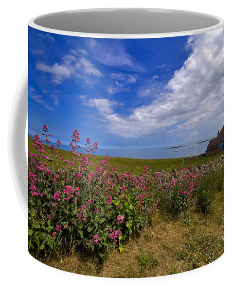 Travel Coffee Mug featuring the photograph Valerian By A Stone Wall On The Northumberland Coast by Louise Heusinkveld
