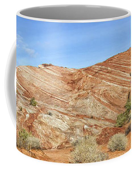 Fire Wave Coffee Mug featuring the photograph Valley Of Fire - Fire Wave Panorama by Debby Richards